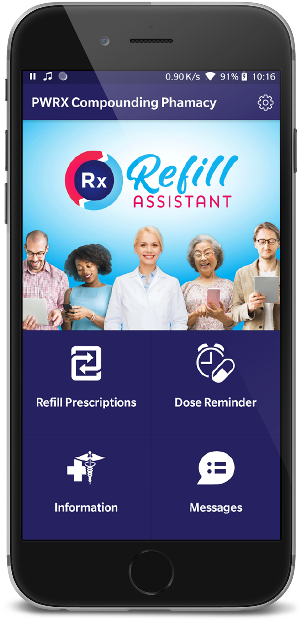 Mobile phone with Refill Assistant app open